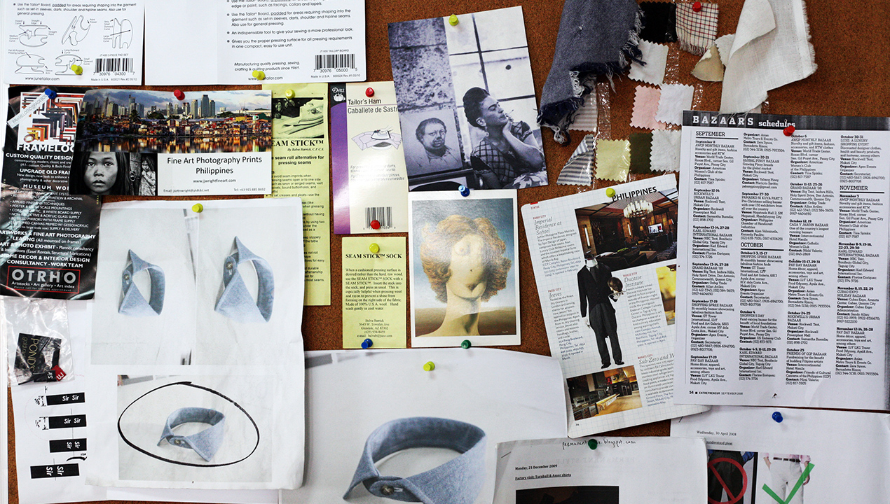 The corkboard at Dimaporo's workshop is filled with an assortment of knickknacks, from flyers, photos, and notes, to guides and fabric swatches