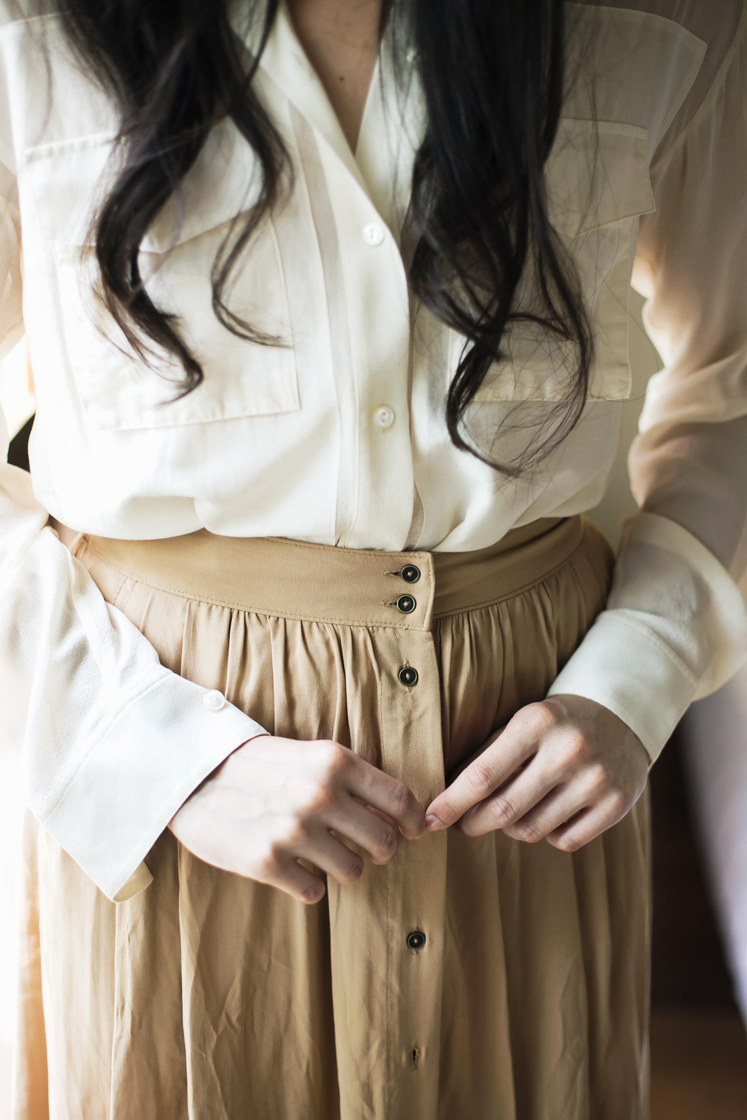 Button-down shirt, P1,999, Sfera, SM City Makati. Skirt, P755, Forever 21, SM Aura Premier.
