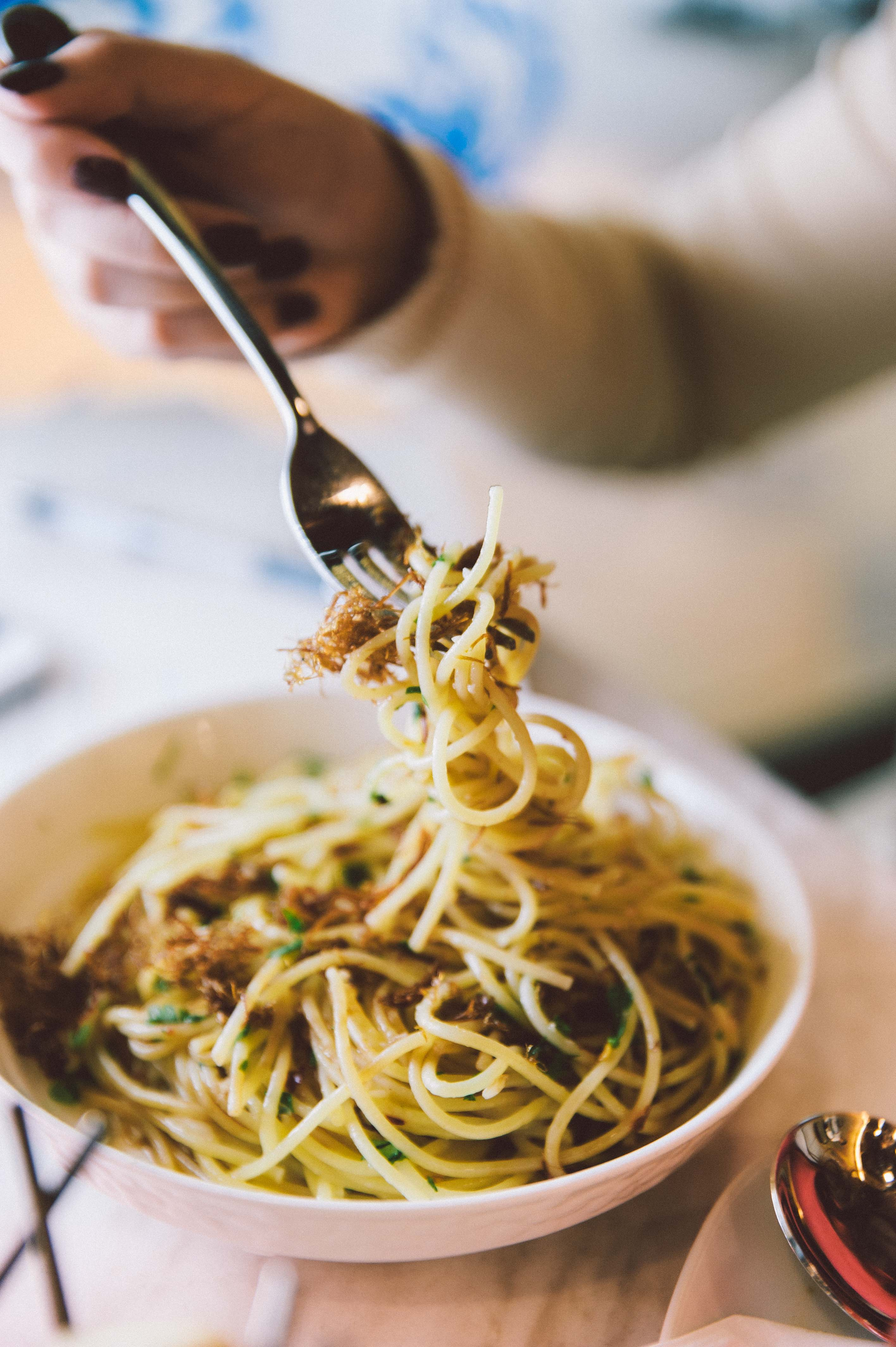 The Duck Olio merges the distinct flavor of duck floss, garlic, and spice.