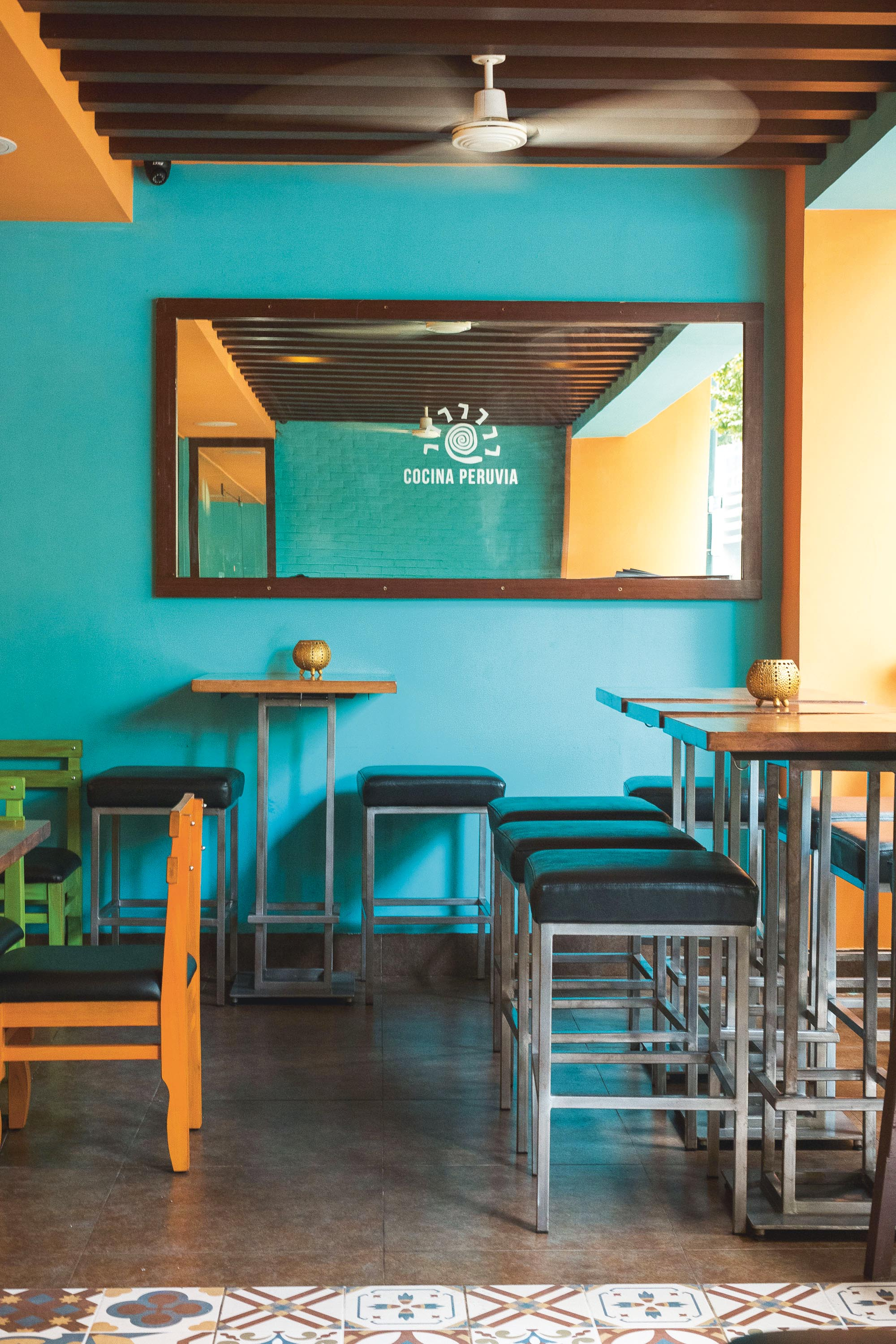 Cocina Peruvia's clean, no-frills interiors are complemented by the space's bright hues.