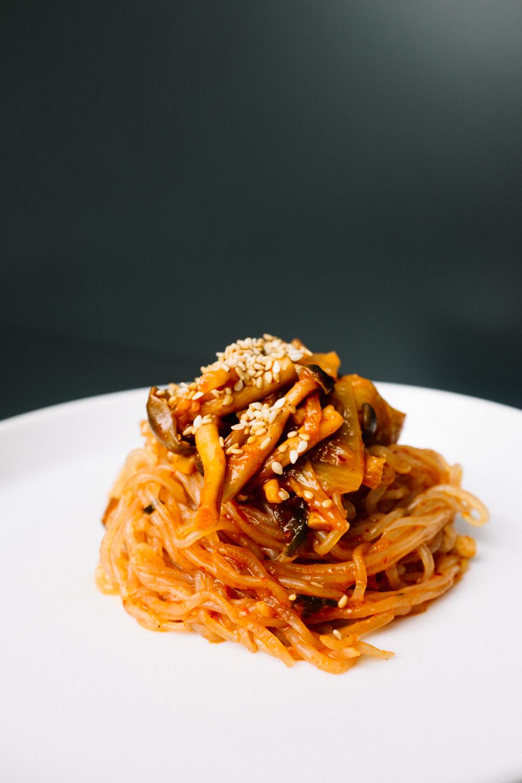 Kimchi shirataki noodles. Tableware from Garden Barn.