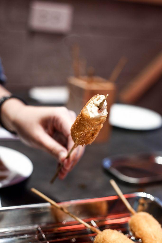 Steaming hot tofu kushikatsu