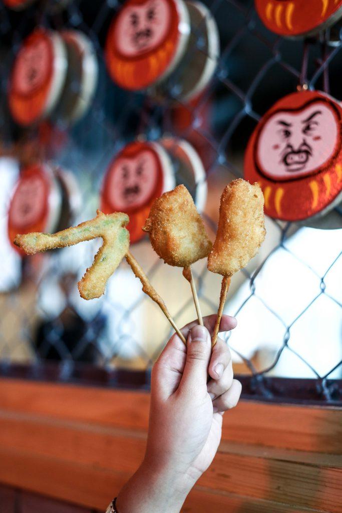 Asparagus, chicken breast, and potato kushikatsu