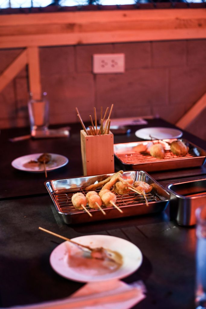 Bamboo containers are also provided for diners to place discarded sticks so that plates will remain free for food only. Talk aboutomotenashi.