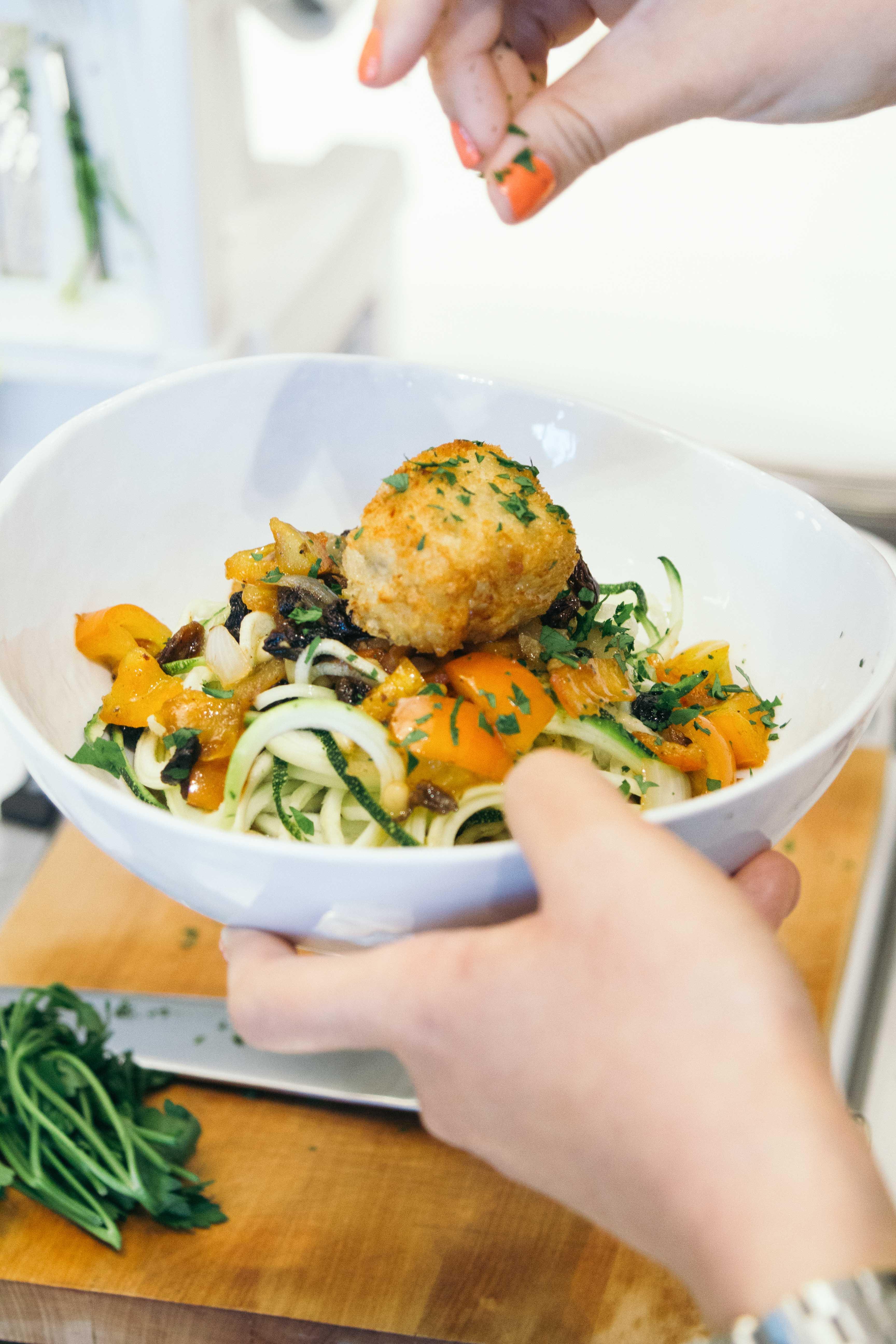 nolisoli events recipe zucchini spaghetti meatballs