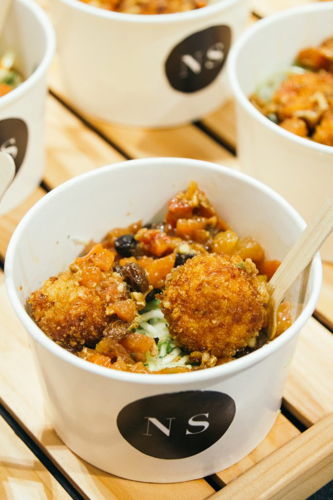 Guests each got to sample the zucchini noodles with chicken meatballs.
