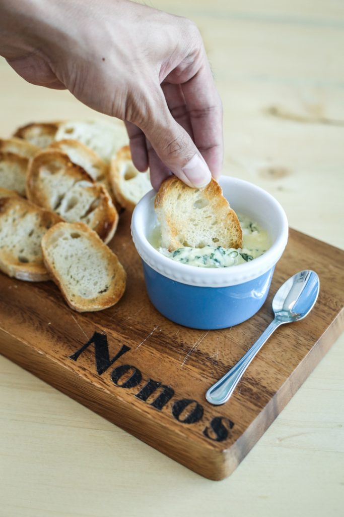 Spinach dip with crostini