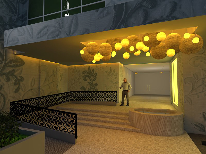 Their design for the entrance of Tesoros focuses on the use of lights.