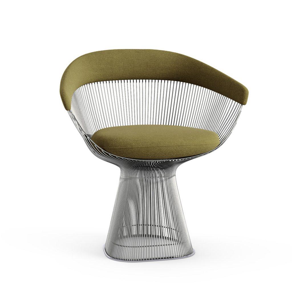 Platner arm chair in velvet moss by Knoll