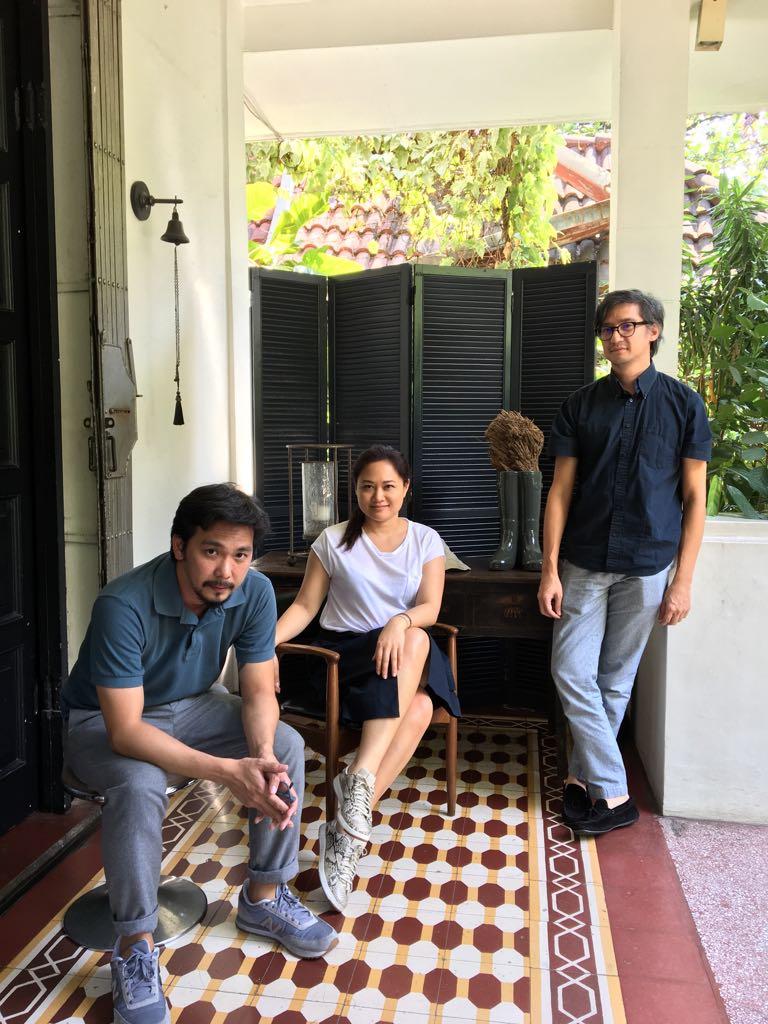 Spektacularis' Stephanie Fondroso (center), with artists Stanley Ruiz and Gabriel Lichauco