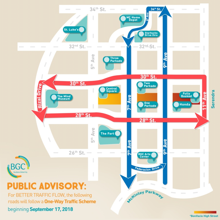 nolisoli bgc one way traffic scheme