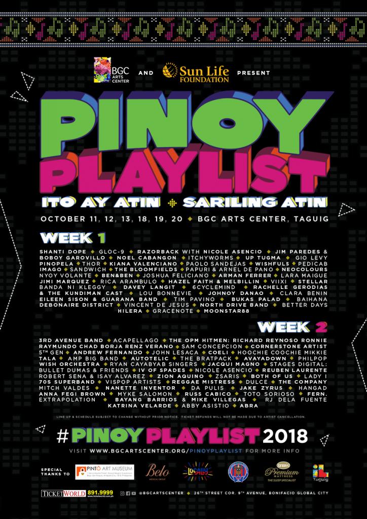 Pinoy Playlist 2018 Line Up