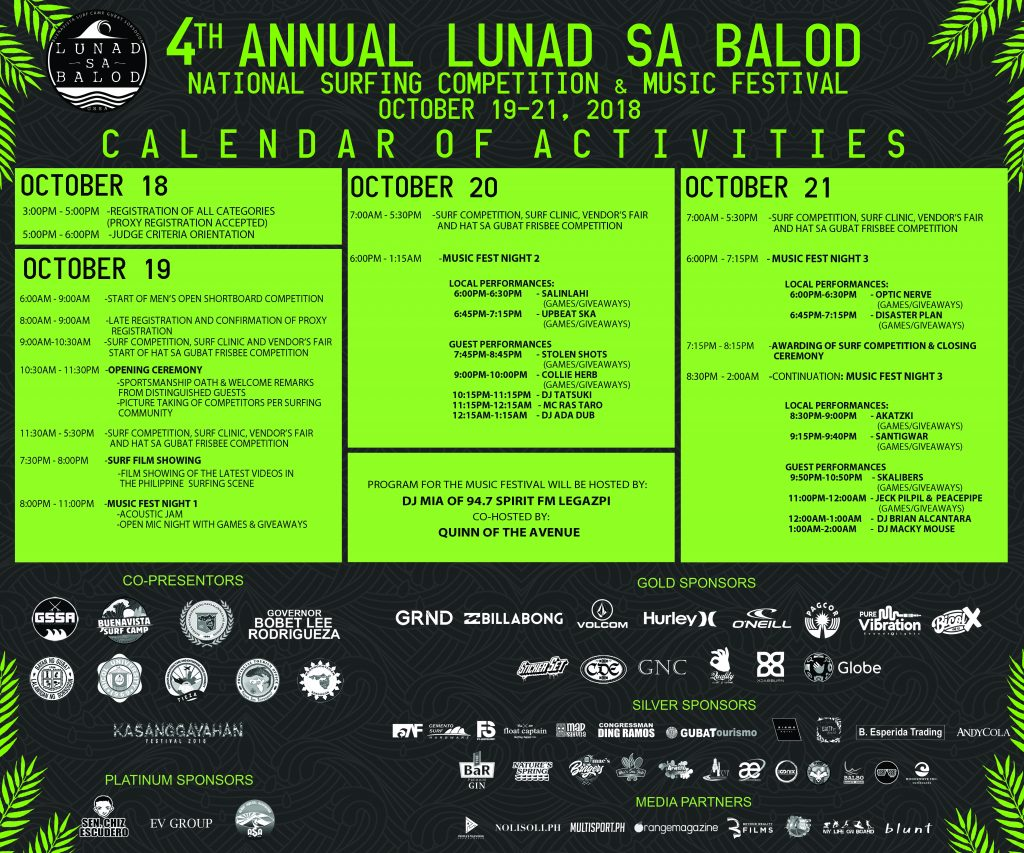 nolisoli lunad sa balod gubat sorsogon surfing competition and music festival CALENDAR OF ACTIVITIES