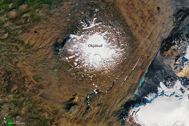 okjokull, iceland, nasa