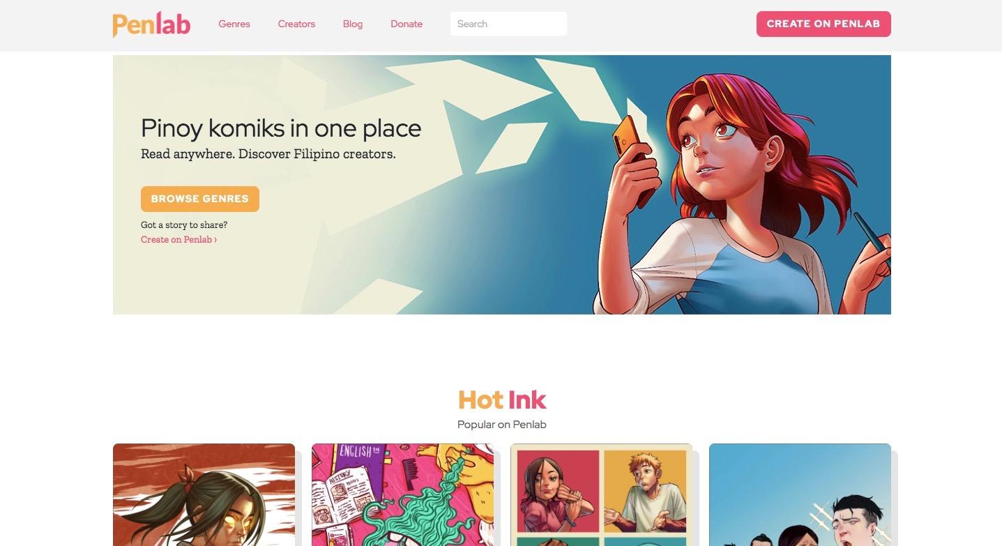penlab webtoon website